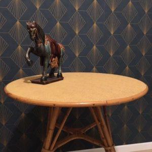 Table / Console ronde en rotin  -  La maison