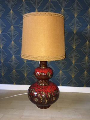 Lampe Lampe W Germany rouge abat jour jaune ocre