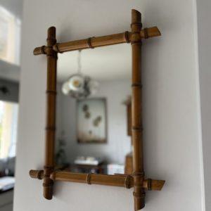 Miroir en bois tourné façon bambou  -  La décoration