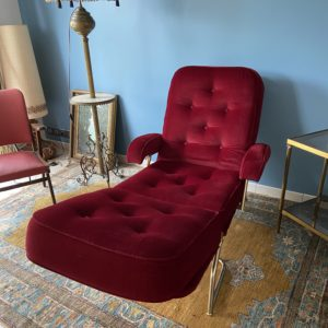 Chaise longue velours vintage  -  La maison